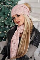 Зимний женский комплект «Мэрис» (шапка + шарф) пудра