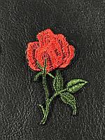 Нашивка Роза 1 бутон красная 32x50мм левая