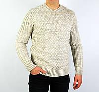 Бежевый мужской вязаный теплый свитер LYM23