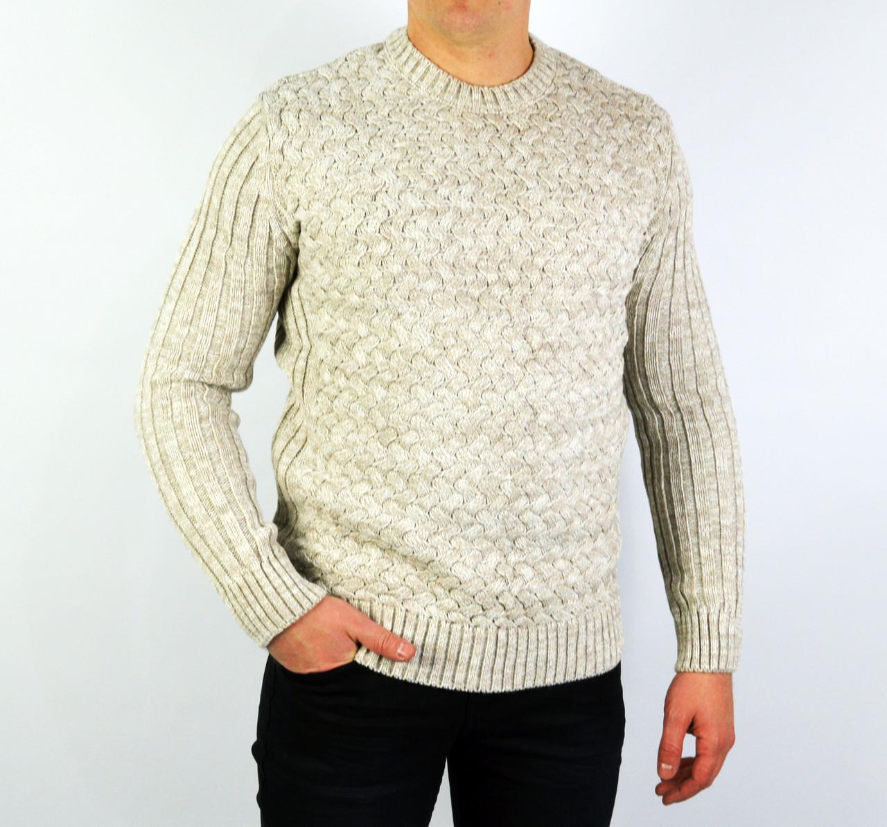 8ae437ad7f798 Бежевый мужской вязаный теплый свитер LYM23 -