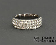 Женское кольцо из стали со стразами Размер 18 (810216)
