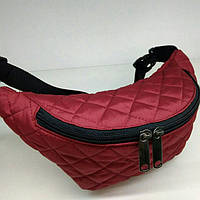 Стеганная поясная сумка бордо, фото 1