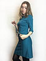 Бирюзовое платье-футляр с клапанами П182