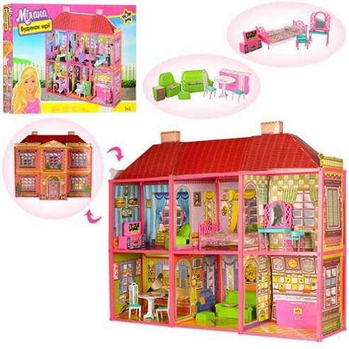 Домик Большой двухэтажный для кукол барби 29 см с мебелью и аксессуарами 128 деталей 6983
