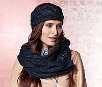 Теплый синий шарф + повязка осень зима от тсм tchibo размер универсальный