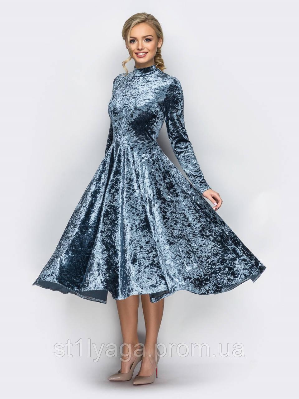 d494fdd7555 Платье с длинными рукавами и пышной юбкой ниже колен из велюра cеро-голубой