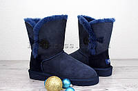 Угги короткие с пуговицей UGG Bailey Button Navy Blue | Угги женские темно синие, фото 1