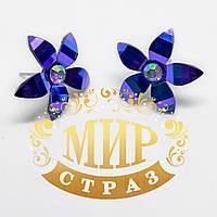 Серьги - гвоздики Цветок, цвет Sapphire AB