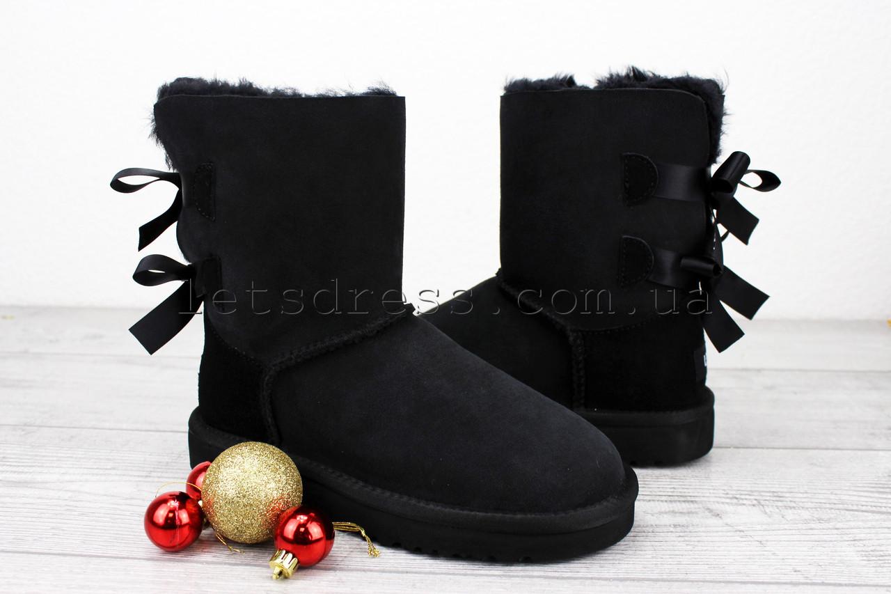 Уггі чорні з бантиками origin UGG Bailey Bow Black | Жіночі уггі Болю Бов зимові