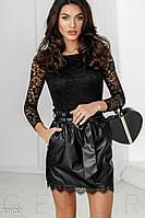 Эффектная кожаная юбка черная