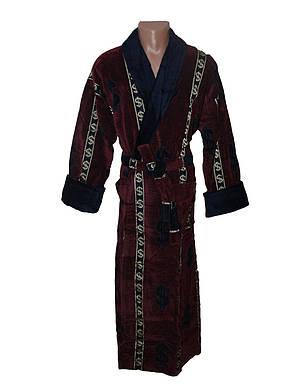 Мужской махровый халат Sokuculer Доллар бордо 2XL, фото 2