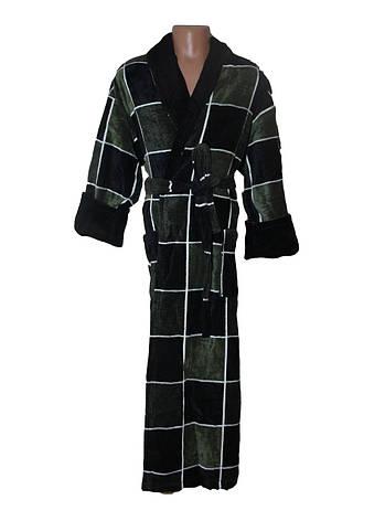 Мужской махровый халат Sokuculer Квадрат зелено-черный 2XL, фото 2