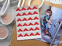 Уголки для фото, самоклеющиеся, красные, 1 лист (24 шт), фото 1