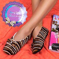 Женские меховые тапочки-следы шоколадный арахис Djan F40-6 choco-peanut