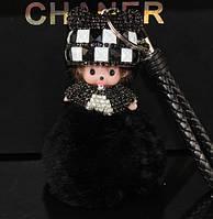 Потрясающий брелок куколка со стразами, цвет черный