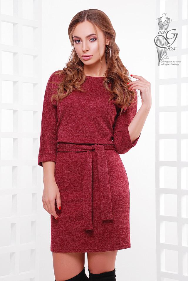 Бордовый цвет Ангорового женского платья Мелани