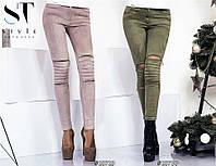 """Утеплённые брюки - легинсы в обтяжку """"Marionilla"""" с лямками, карманами и молниями по штанине (3 цвета)"""