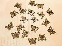 Металлическая подвеска Бабочка 15*10мм 19шт бронза
