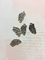 Металлическая подвеска Бабочка половинка 20*10мм 5шт серебро