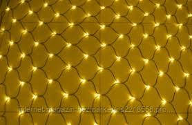 Новогодняя гирлянда сетка 240LED 2х2 на прозрачном проводе цвет желтый