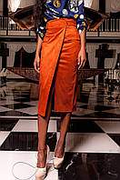 Женская замшевая юбка Дарси кирпич Jadone Fashion 42-48 размеры