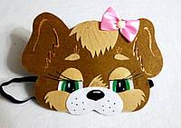 Карнавальная маска на лоб собачка с бантиком. Для сюжетно ролевых игр.