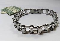 Мужской браслет из  нержавеющей стали мото цепь, серебристый арт 2148