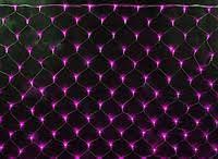 Новогодняя гирлянда сетка 240LED на прозрачном проводе цвет розовой
