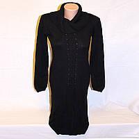 Платье вязаное Oodji черное с декором и воротником-хомутом, р.44-46
