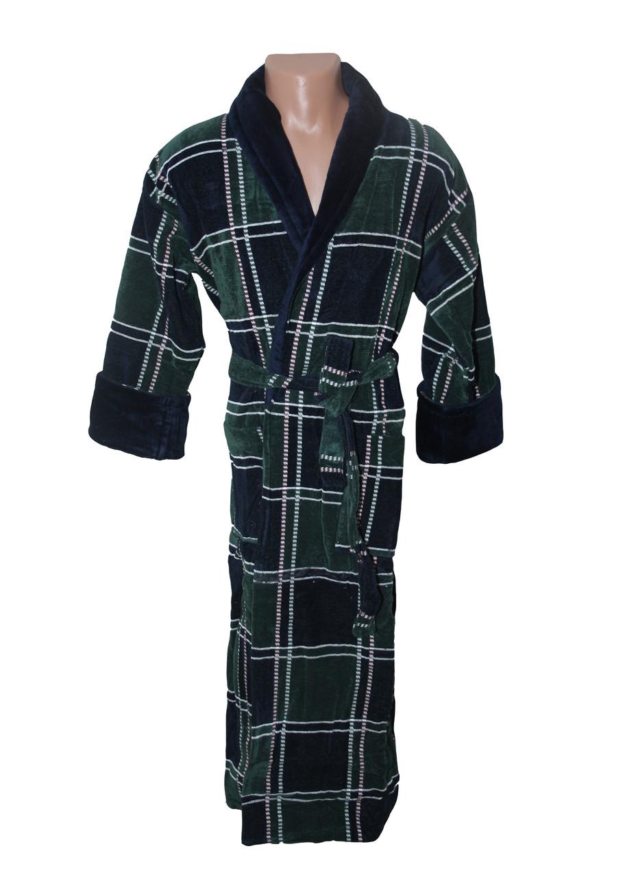 Квадрат зелено-синий халат махровый мужской 4XL Sokuculer