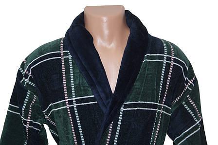 Квадрат зелено-синий халат махровый мужской 4XL Sokuculer, фото 2