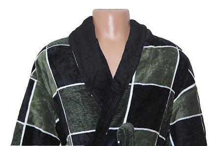 Квадрат зелено-черны халат махровый мужской 4XL Sokuculer, фото 2