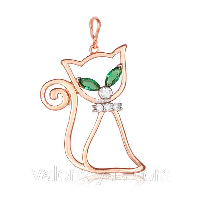Підвіска срібна з позолотою - кішка П3ФИ/473