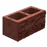 Блок бетонний Квадра 400x200x200 мм бордовий