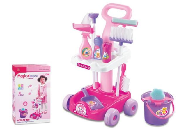 Детский игровой набор для уборки арт.5953 тележка, швабра, щетки, ведро, совок 46-30-15см