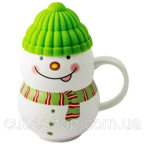 """Чашка с силиконовой крышкой """"Снеговик"""" (зеленый) 400 мл"""