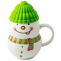 """Чашка с силиконовой крышкой """"Снеговик"""" (зеленый) 400 мл, фото 1"""