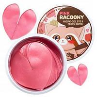 Гидрогелевые патчи сердечки Secret Key Pink Racoony Hydro-gel Eye & Cheek Patch