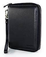 Стильное мужское портмоне GEO COMP в черном цвете из натуральной кожи с отделом для паспорта (G-134B)