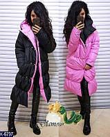 Женское двухсторонее пальто плащевка (зима)