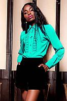 Женская бирюзовая рубашка Перфис ТМ Jadone  42-48 размеры