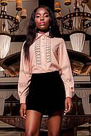 Женская персиковая рубашка Перфис  ТМ Jadone  42-48 размеры