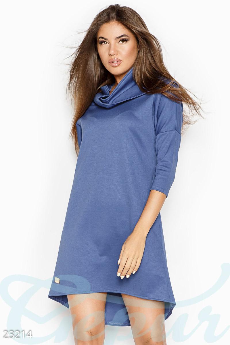 Платье женское светло-синее теплое асимметричное