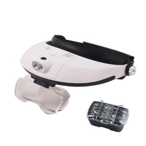 Ювелирные очки бинокулярные 5 линз 1X - 6X с LED подсветкой Magnifier 81001-G, фото 1