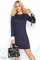 Женское платье синее Ангоровое платье-трапеция