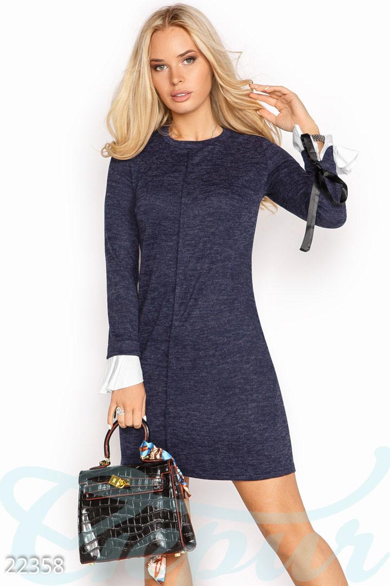 5f1802019dd Женское платье синее Ангоровое платье-трапеция L
