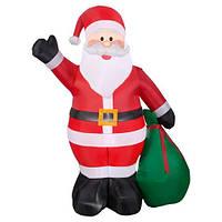 Надувная Новогодняя Фигура Санта Клауса с мешком 240см, светящиеся, декор на улицу Новый год