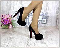 """Туфли """"Queen"""" чёрные эко - замша с красной подошвой на высоком каблуке р 36 37 38 39"""