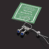 Серебряные серьги гвоздики с цветным камушком, фото 2