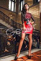 Красное вечернее платье с кожаной юбкой Gepur 9624